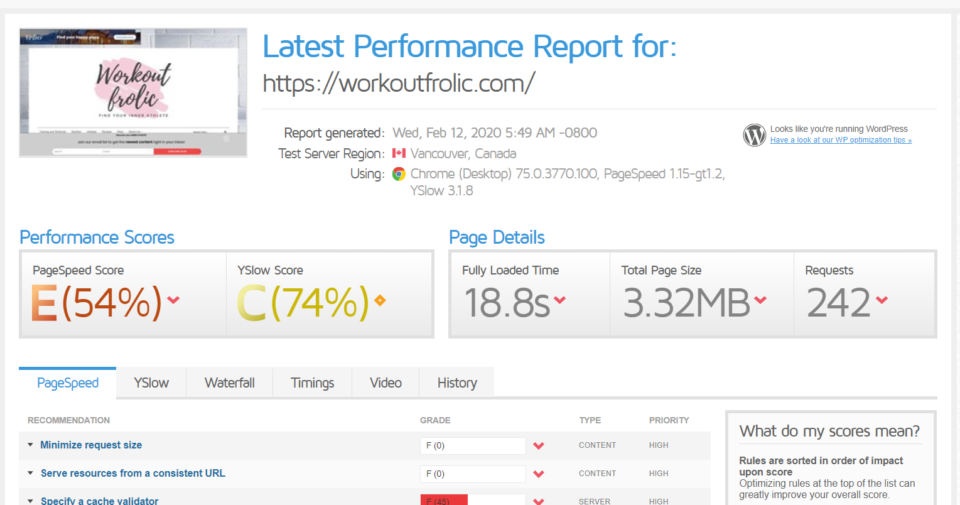 GTmetrix Score for Workoutfrolic.com at HostGator