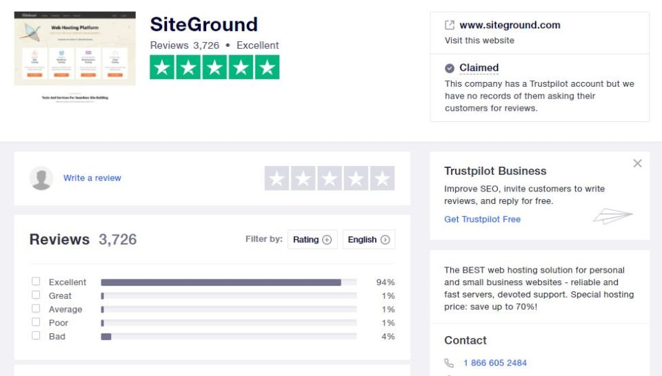 Screenshot of SiteGround's rating on Trustpilot