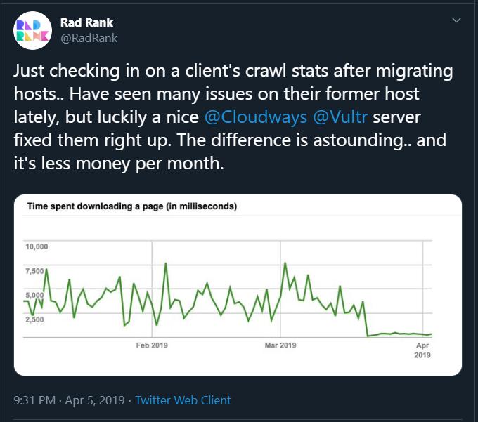 Cloudways review screenshot of Twitter user