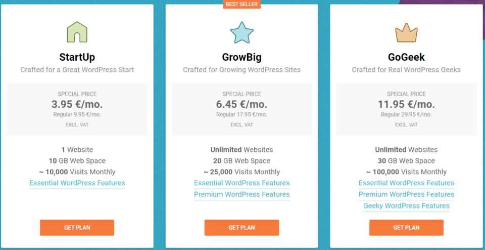 Siteground screenshot of pricing models