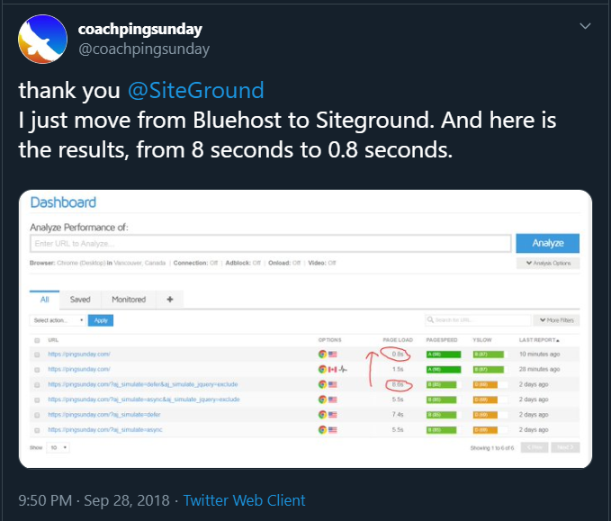 screenshot of Twitter review for Siteground