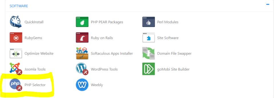 PHP selector screenshot of HostGator