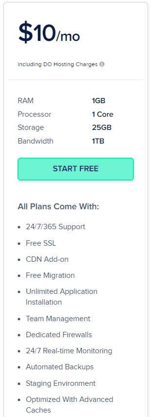 screenshot - Cloudways Digital Ocean Servers pricing