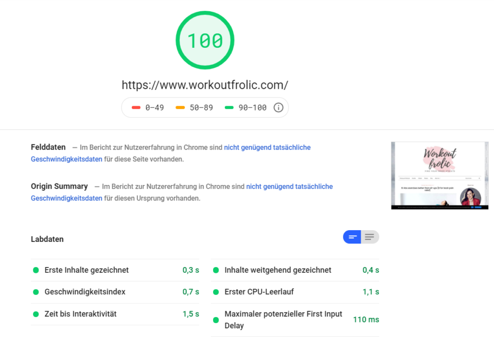 Google Page Speed Desktop Score for Workoutfrolic.com at Cloudways
