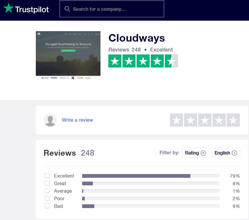 Cloudways review screenshot of Trustpilot