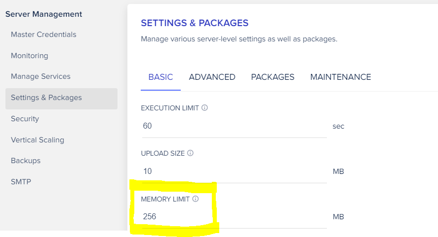 Cloudways server settings screenshot