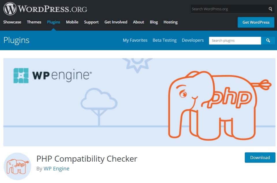 PHP compatibility checker plugin screenshot