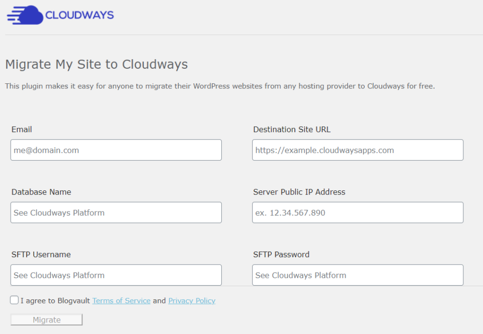 Cloudways WordPress Migrator plugin dashboard