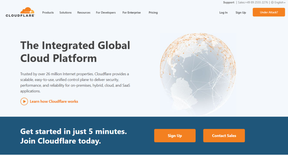 screenshot of Cloudflare homepage