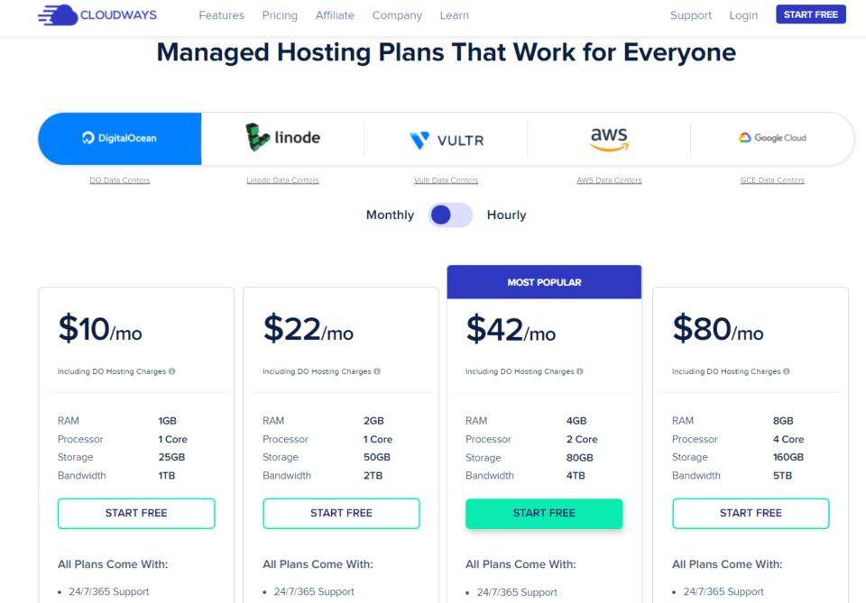 Screenshot Cloudways pricing