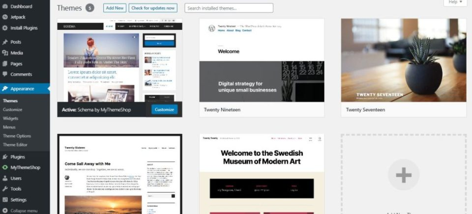 Screenshot showing WordPress Themes Gallery.