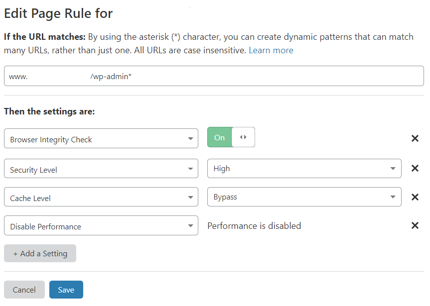 screenshot of Cloudflare Page Rule