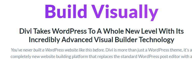 Screenshot of the functions of the Divi WordPress Theme.