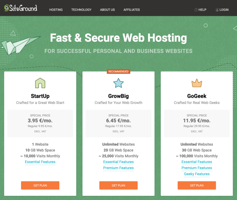 Screenshot showing how to sign up or SiteGround hosting plans and set up a WordPressAccount.