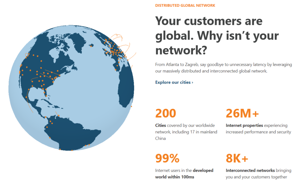 screenshot of Cloudflare global network