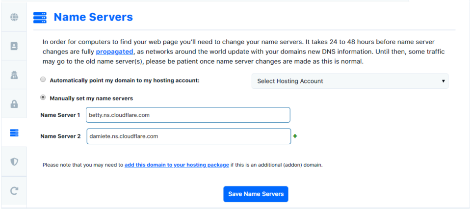 screenshot Hostgator name servers