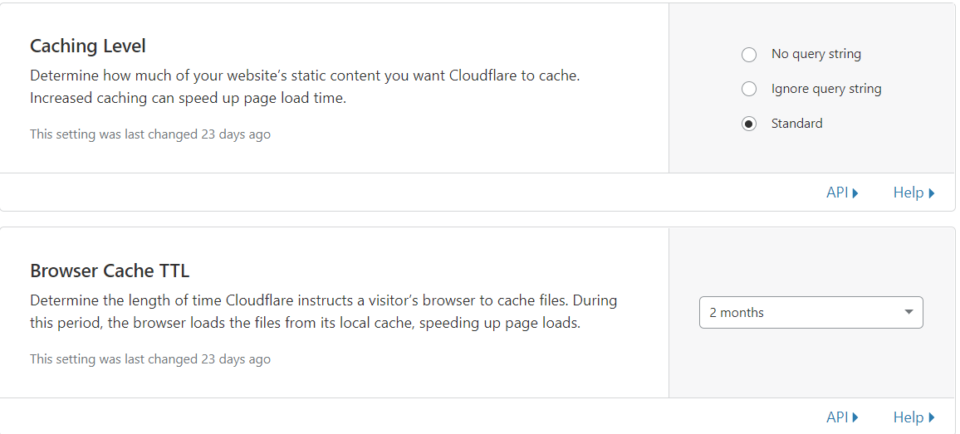 screenshot of Cloudflare caching